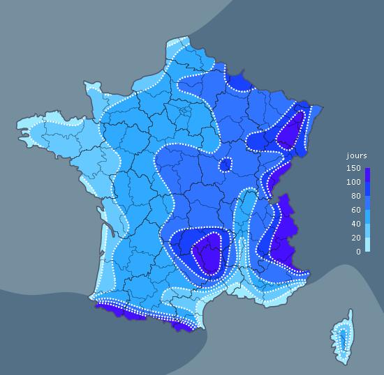 carte avec le nombre de jours de gel en france
